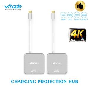 Image 1 - TypeC 4 in1 Thunderbolt 3 USB Type C 허브 HDMI 4K 어댑터 USB C 허브 도크 (Type C 전원 공급 장치 포함) 삼성 S8 MacBook Pro