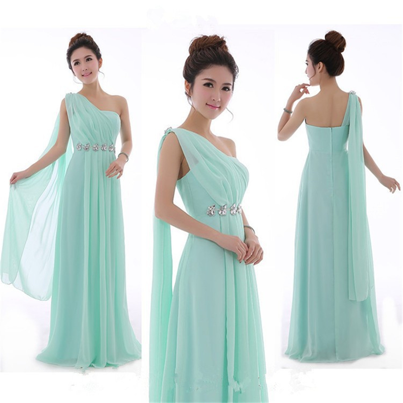 Long mint green bridesmaid dress one shoulder high quality for Mint green wedding dress