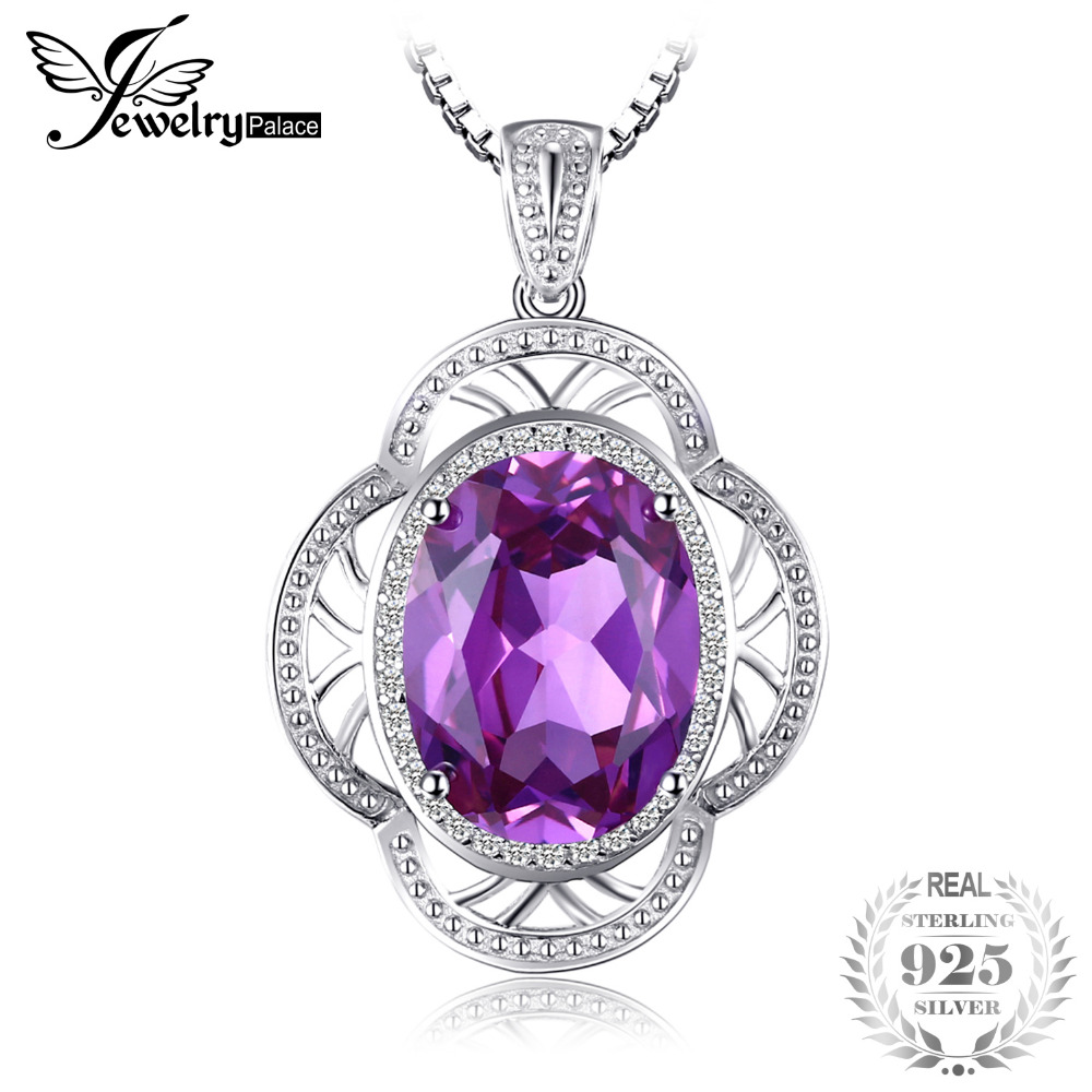 JewelryPalace Flower Larger particles 14ct Created Alexandrite Sapphire Pendant Necklaces 925 Sterling Silver 45cm Box Chain jewelrypalace pear shape 11ct created alexandrite sapphire pendant necklace 925 sterling silver 45cm box chain woman choker