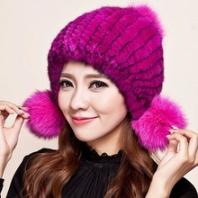 Mink hat Ladies fashion with foxfur ball fur hat Mink knit hats Genuine Mink Fur Beanies Multicolor Real Fur Hat