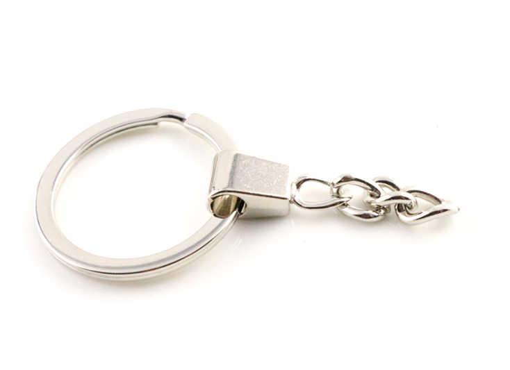 10 шт./лот брелок (Размер кольца: 30 мм) брелок родий и бронза покрытием 50 мм Длинный круглый раздельный брелок Брелоки оптом