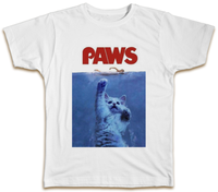 Paws T Shirt Funny Jaws Parody Cats Kittens Movie Top Cool Gift Present 100% cotton tee shirt tops wholesale tee