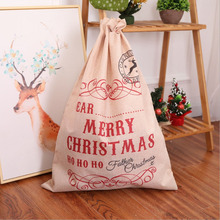 2 Pcs / Lot Large Linen Christmas Gift Bags Santa Claus Bag Xmas Candy Apple Decorations for Home 2018