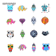 10 Pcs Cute Cartoon Animal Enamel Alloy Connectors Necklace Pendant For Kid Handmade Jewelry Gift Cat Elephant Owl Multi-Shape