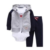 2017 Baby Boy Girl Clothes Sets 1 Hooded Zipper Coat Pants Romper Fashion Cotton Children Boys