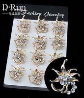 Wedding Bridal Gold Silver Rhinestone Crystal Pearl Flower Brooch Bouquet Pin Free Shipping
