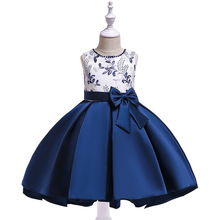 New beaded embroidered satin princess tuxedo children party banquet tutu flower tulle dress girl blue custome