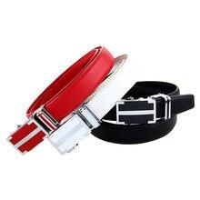 Женский кожаный ремень белый черный красный автоматический из
