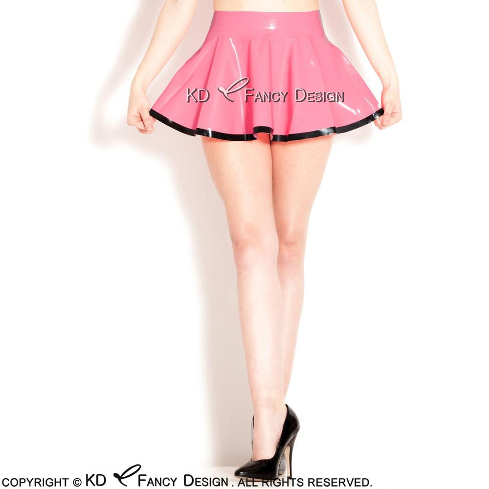 Pink With Black Trims On Bottom Mini Sexy Latex Skirts Without Zip Rubber Skirt Bottoms DQ-0016