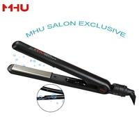 MHU Hair Straightener Ceramic Straightening Irons Negaitve Anion 3D Floating Titanium Plate Temp Control Black EU