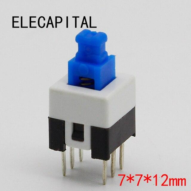 30pcs/lot Square 7x7x12mm 6 Pin DPDT Mini Push Button Self-locking Switch G64 Multimeter Switch Free Shipping