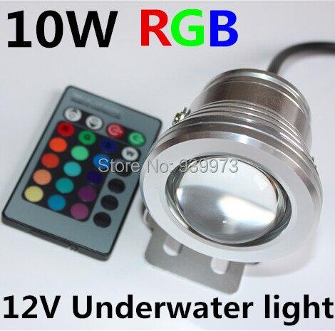 10 Вт 12 В RGB подводные светодиодные прожектор CE/RoHS IP68 950lm 16 Цвета изменение с Remote для фонтан бассейн украшения 1 шт.
