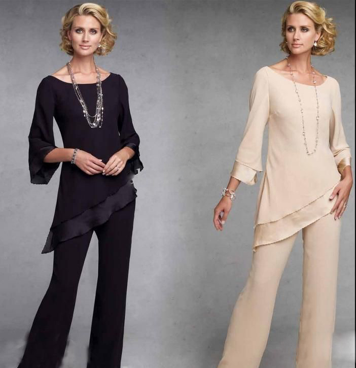 Elegant Women Chiffon Long Mother Suits For Wedding Scoop Neckline Three Quarters Blouse And Pants Formal Groom Mum Cloth 2017 In Of The Bride