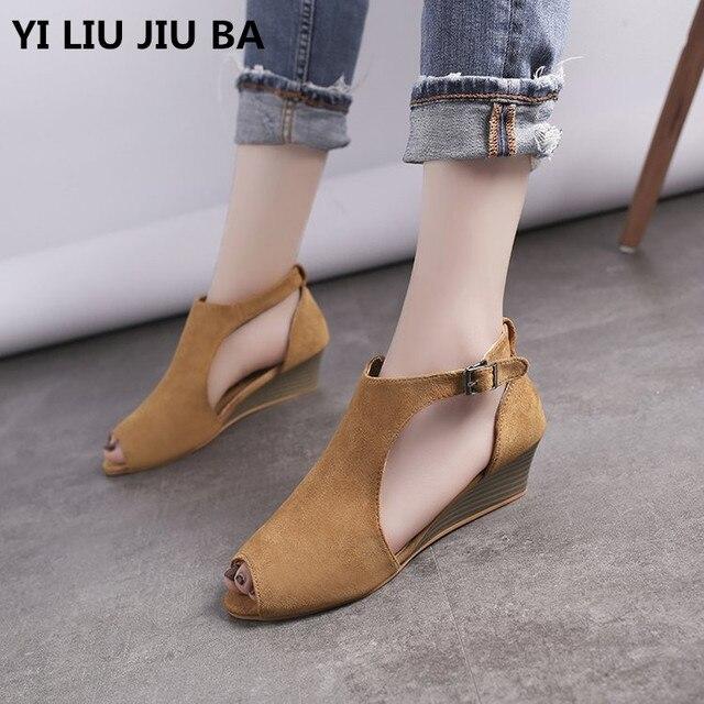 6051937f70c6 2019 Women Sandals Peep Toe Buckle roman style sandals Women shoes mid heel  Wedge Summer Beach casual Shoes women Sandals   654