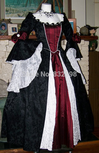 Dracula Gothic Renaissance Pirate Gown Dress costume Vampire Womens Vintage  Dress. Anniversary Sale US ... 552b7e62d1c8