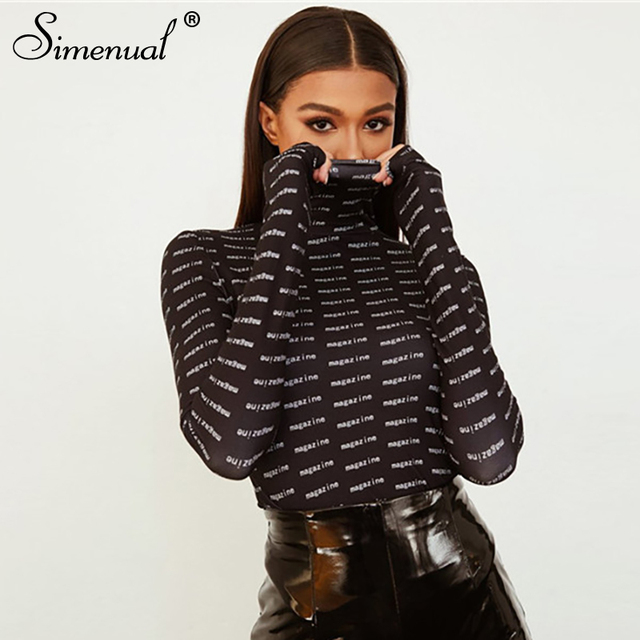 20534f694c2e8 Simenual Letter print black bodysuit long sleeve women bodycon jumpsuits  turtleneck streetwear fitness overalls rompers fashion
