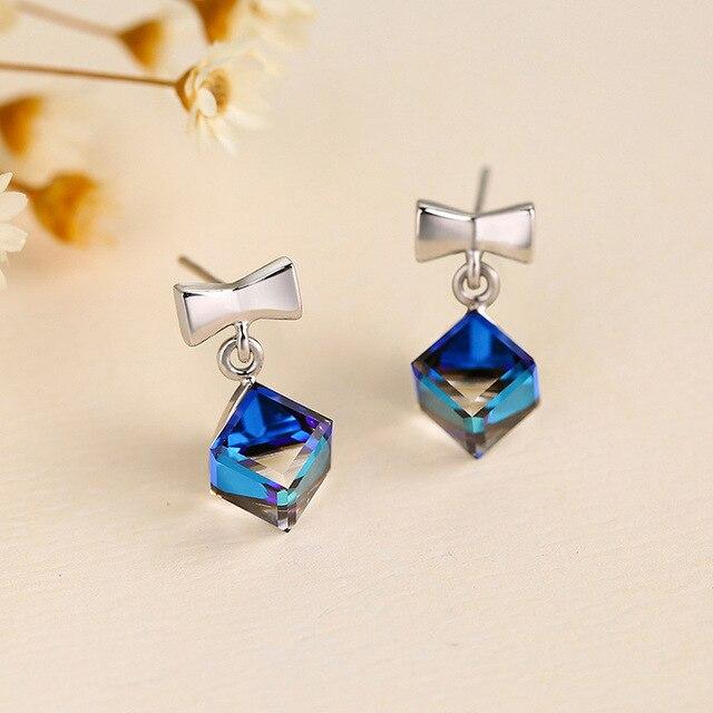 237a688f1 New Fashion Stud Earrings Cute Bow Suger Cube 100% 925 Sterling Silver  Earrings Gemstone Earrings Female Fine Jewelry