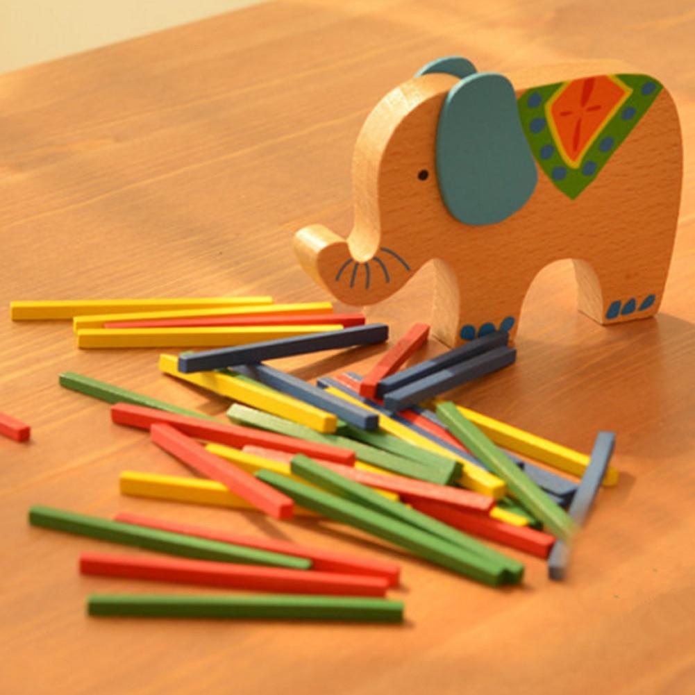 Elephant Color Rod Balance Beam Balancing Sticks Blocks Baby Wooden Toys Kids Cartoon Animal Montessori Educational Toy Gift