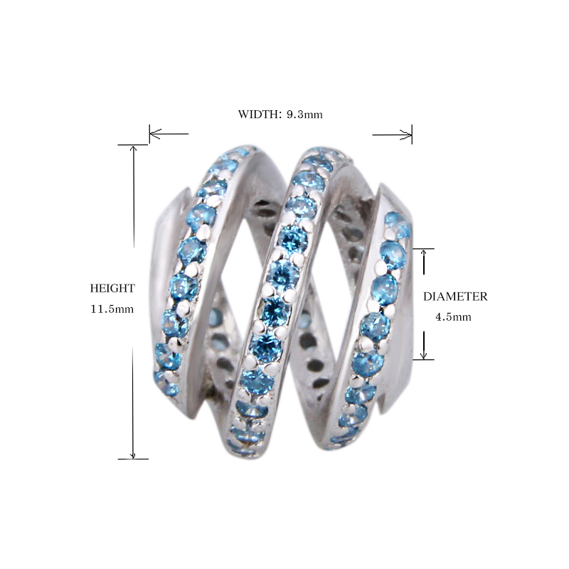 SG pandora 925 sterling silver charms surrounded by blue CZ Fit original pandora Bracelets elegant Beads making Jewelry Gifts