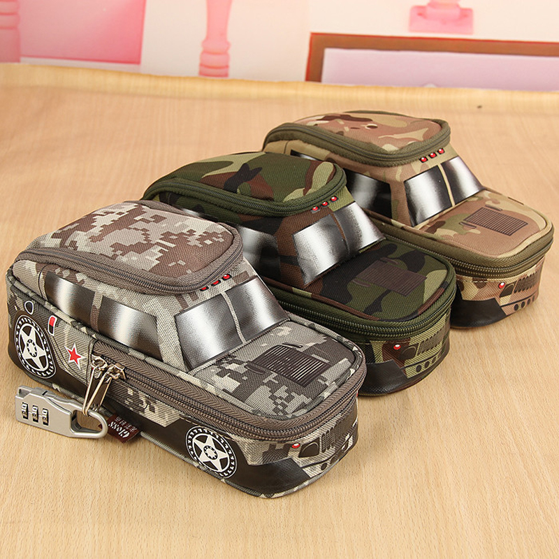 Pencil Case Vehicle Pen Pouch Bag With Combination Lock For Boys Double Zipper Camouflage Canvas Large