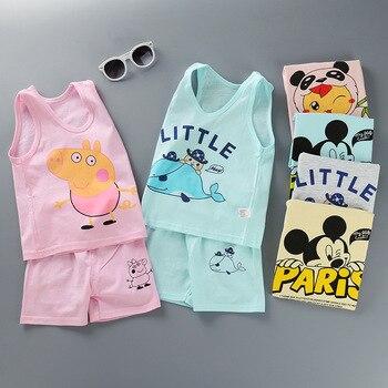 4e1d5efff70 Conjuntos de ropa para niños verano bebé niño niña ropa chaleco camisetas  pantalones cortos 2 piezas 1-4 años Mickey dibujos animados la ropa de los  niños