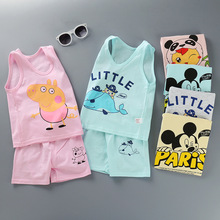Kids Clothing Sets Summer Baby Boy Girl Clothes Vest T Shirts Shorts 2 Pieces 1-4 Years Mickey Cartoon Children