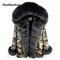 MAOMAOKONG Camouflage Winter Jacket Women Outwear Thick Parkas Natural Real Fox Fur Collar Coat