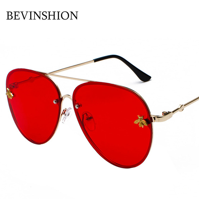 9bb892db9 Double Beams Brand Oversized Bee Metal Pilot Sunglasses Men Red Pink Color  Lens Aviator Sun Glasses Female Couple Eyeglasses HD