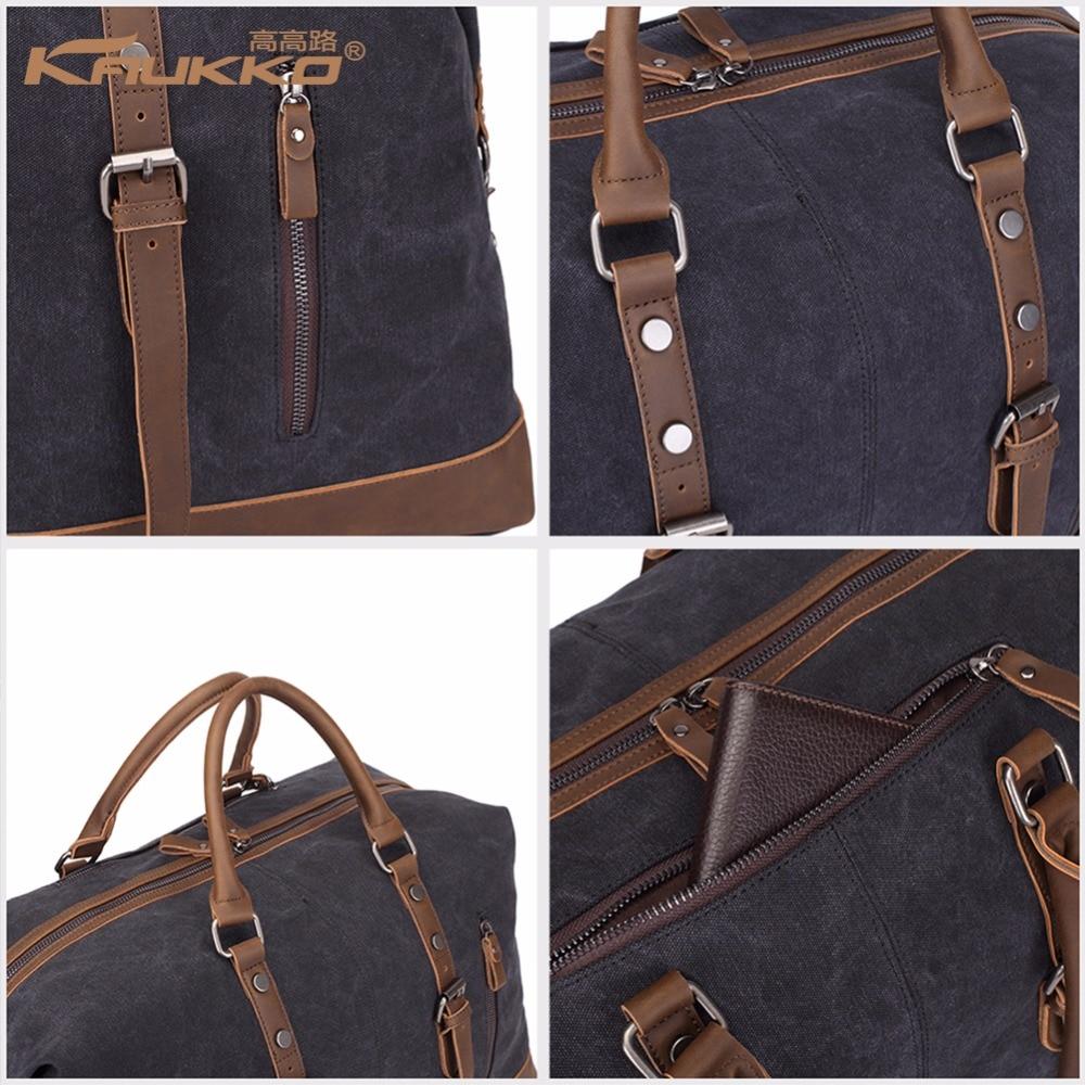 Original KAUKKO lærred læder mænd rejse tasker transportere tasker - Håndtasker - Foto 5