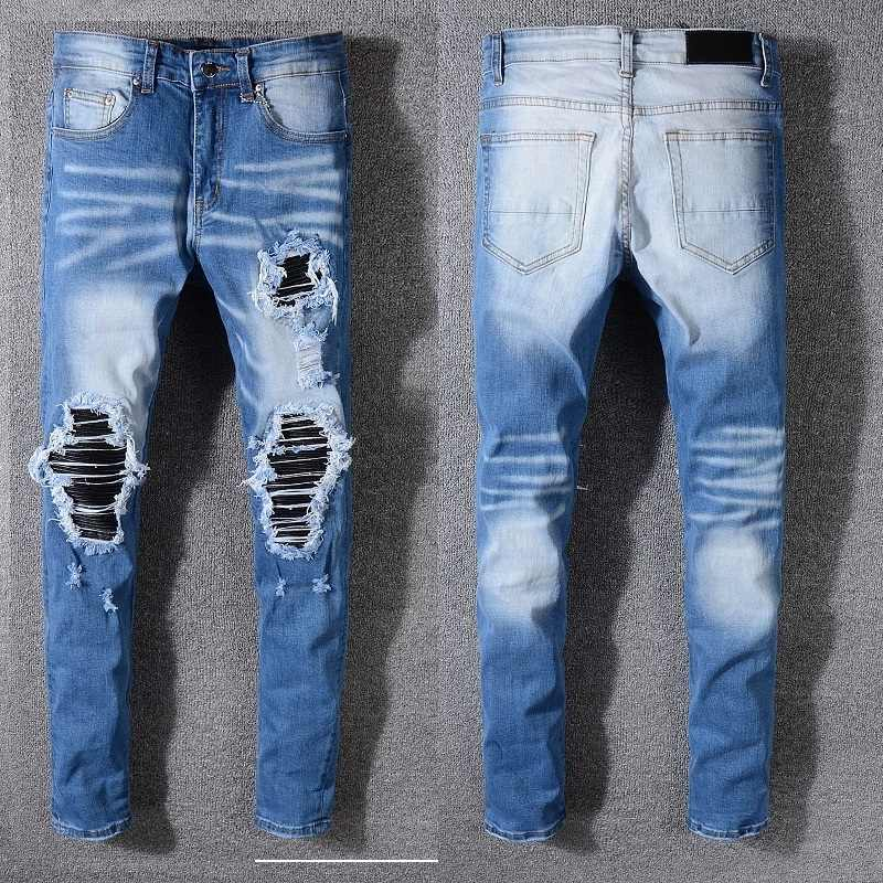 e915df3f73e New Italy Style #562# Men's Distressed Destroyed Pants Black Leather Ribbed  Patches Skinny Blue