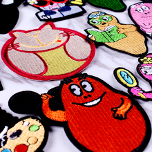 Pulaqi Cartoon Animals Patches Cute Dog Embroidery Iron On For Clothing DIY Stripe Patch Clothes Kids Applique F