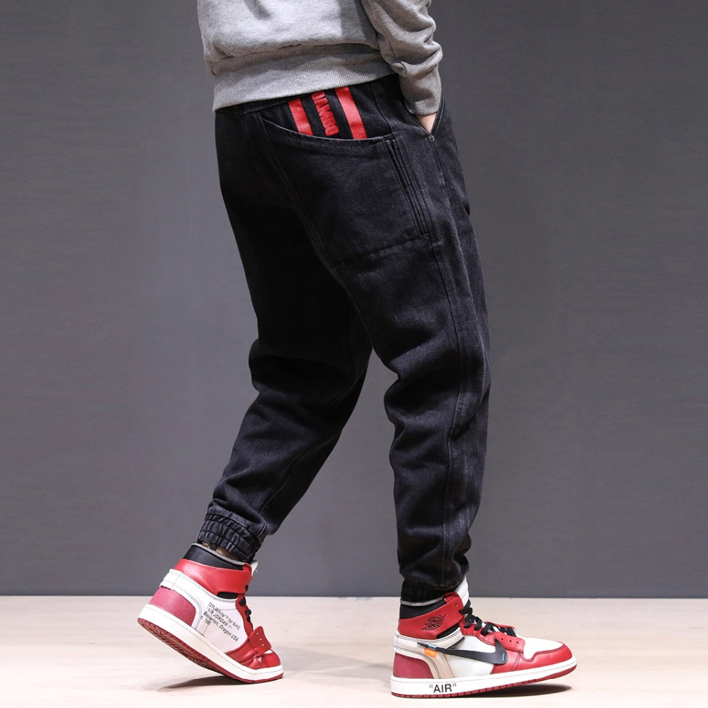 Japanese Style Fashion Men Jeans Printed Pocket Black Loose Fit Denim Cargo Pants Hip Hop Slack Bottom Joggers Harem Jeans Men