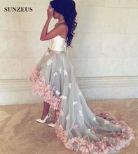 Vestido Floral Longo Sweetheart Corset Short Front Long Back Evening Dresses With Flowers High Low Party Gowns For Prom CPD109