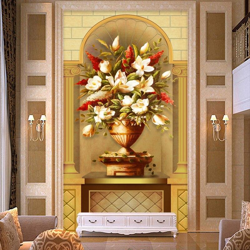 European Inspired Home Decor: Custom 3D Wallpaper Mural European Style 3D Flower Vase