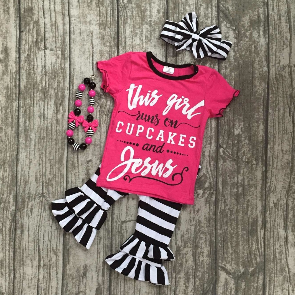 summer baby girls this girl runs on cupcakes and Jesus boutique clothes ruffles capris striped cotton matching accessories bow lole капри lsw1349 lively capris xs blue corn