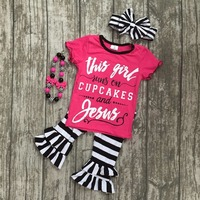 summer baby girls this girl runs on cupcakes and Jesus boutique clothes ruffles capris striped cotton matching accessories bow