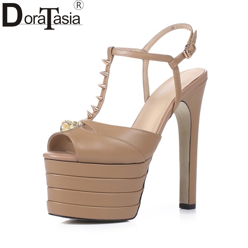 DoraTasia 2018 big size 33-40 genuine leather platform peep toe women shoes woman sandals t-strap super high heels wedding shoes brand new women platform sandals t strap rivets high heels wedding shoes woman peep toe gladiator women luxury big size shoes