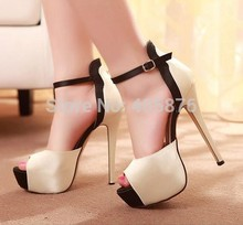 Fashion Womens Pumps Peep Toe Stilettos Womens High Heels Faux Leather Sexy Ladies Sandals Shoes Wholesales