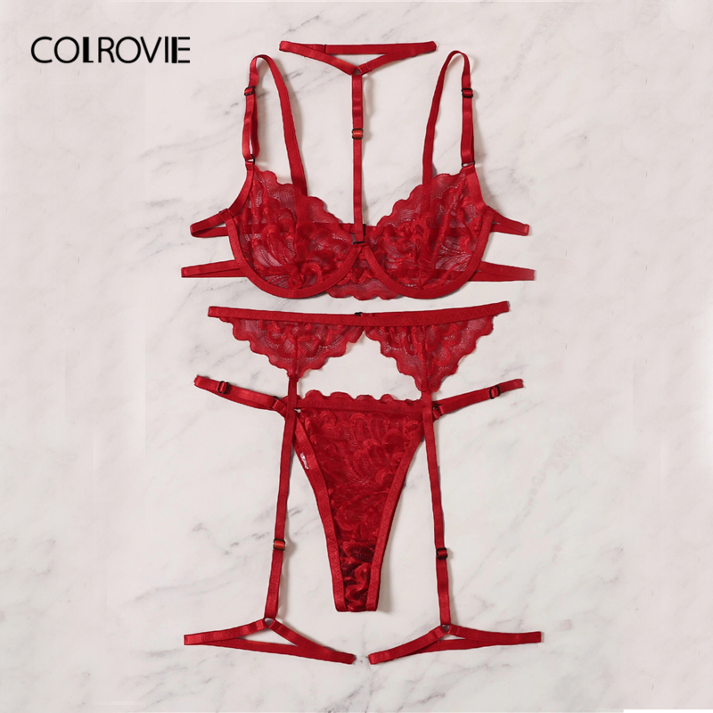 COLROVIE Red Floral Lace Garter Lingerie Set With Choker Women Intimates 2019 Underwire Bra And Thongs Ladies Underwear Set