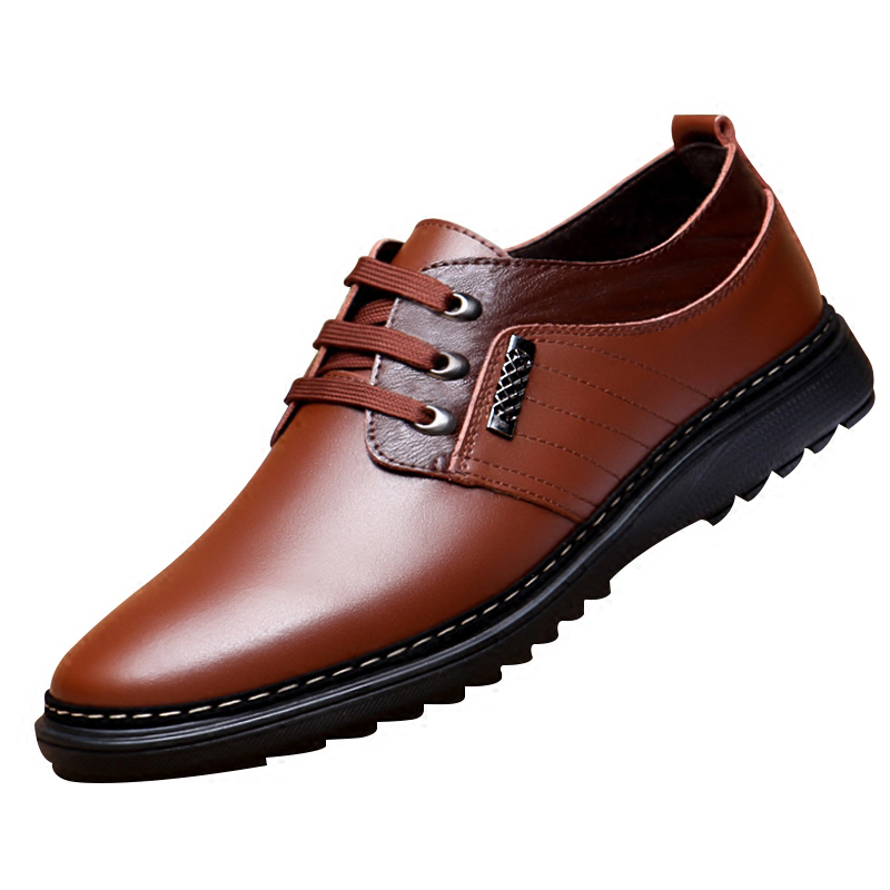 Business men tie Shallow mouth brown leather casual rivet shoes men's shoes round youth non slip rubber sole business men tie shallow mouth brown leather casual rivet shoes men s shoes round youth non slip rubber sole