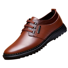 Business men tie Shallow mouth brown leather casual rivet shoes mens round youth non slip rubber sole