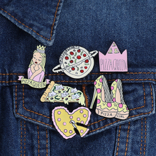 Pizza Enamel Pin cartoon brooch queen crown high heels Planet badge fast food pizza to send lover birthday gift jewelry