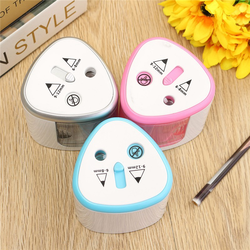 1pcs Unique Two Holes Electric Pencil Sharpener Automatic Pencil Sharpeners School Office Stationery Supplies for Students purple stripe color stitching round neck long sleeves t shirt
