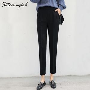 Image 2 - Women Harem Pants Summer Elastic Waist Plus Size Office Chiffon Capri Pencil Black Work Pants For Women High Waist Trousers Thin