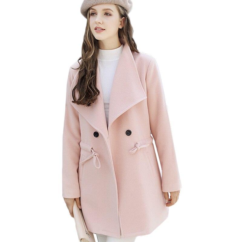 Sottile Modo Era Del pink Di Lungo Molla red Solido Della Risvolto Delle Colore 2018 Cappotto Donne Yellow Femminile Ginger Lana Selvaggio g0zyw