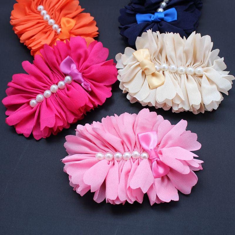 new arrivals hair accessories big chiffon flower with six parls flat