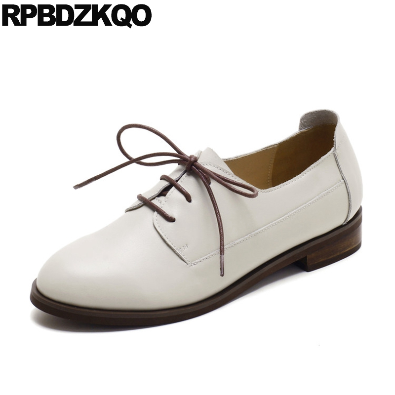 Lace Up Retro Cowhide Round Toe 2017 Vintage Women Oxfords Shoes Flats Real Leather Size 33 White Ladies Genuine Japanese Spring 33 45 size women genuine leather oxford shoes fashion round toe lace up flat ladies england style brogue oxfords for women d005
