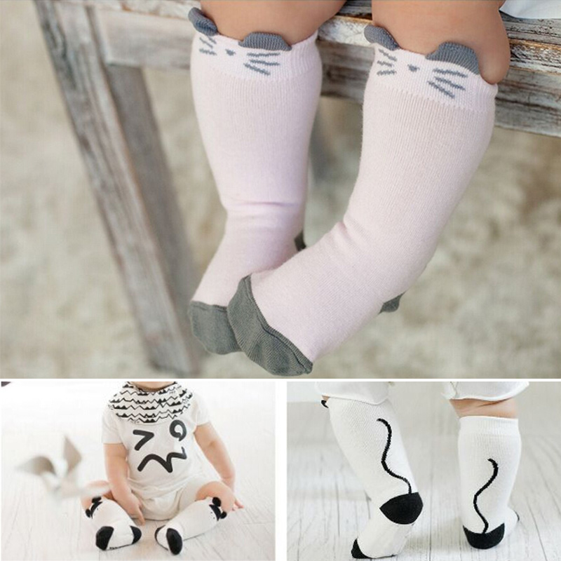 2016 Cotton Newborn Toddler Knee High Sock Baby Boy Girl Animals Socks Anti Slip Cartoon Cat Resistance Leg Warmers For Newborns