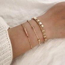 цена на 3 Pcs/Set Gold Link Chain Paillette Charm Bracelet for Women Simple Gold Chain Bracelet Adjustable Lucky Friendship Jewelry 2019