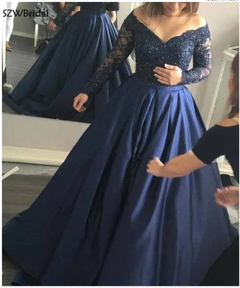 New Arrival V Neck Long sleeve   evening     dress   Navy Blue Ball gown   evening     dresses   Lace Beaded Formal   dress   party robe de soiree